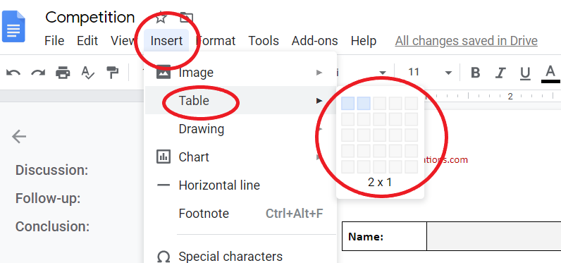 inserting a table in a Google doc