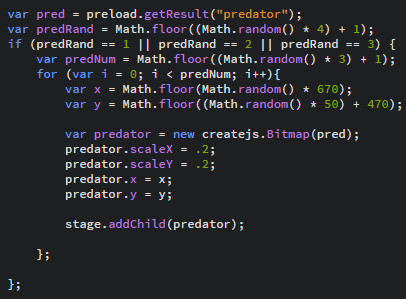 JavaScript code for a biodiversity simulation