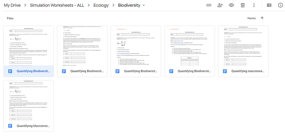 Google Drive Folder: Biodiversity