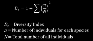 Simpson's Diversity Index formula (infinite population)
