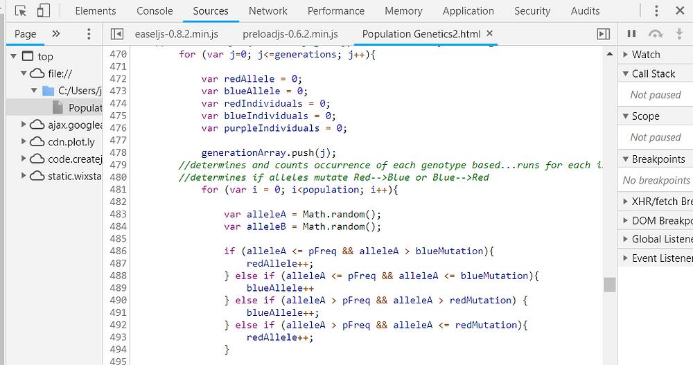 Population genetics simulation JavaScript code, demonstrating use of Math.random() function.