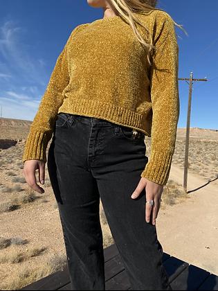 Mustard Velvet Knit Sweater