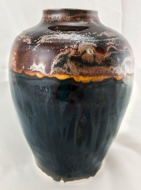 Stoneware Vase with Metals Surface Effects