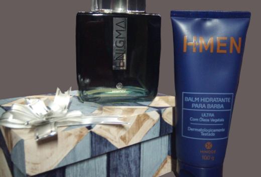 Fragrância Enigma, Hidratante para Barba e caixa Personalizada MDF