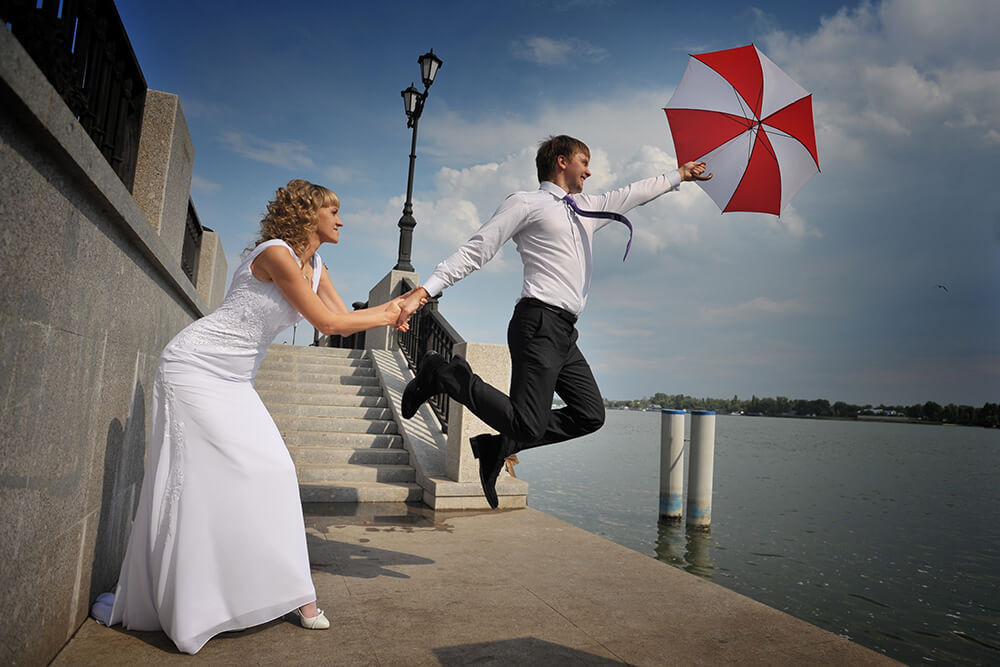 Оригинальные идеи свадебных фото