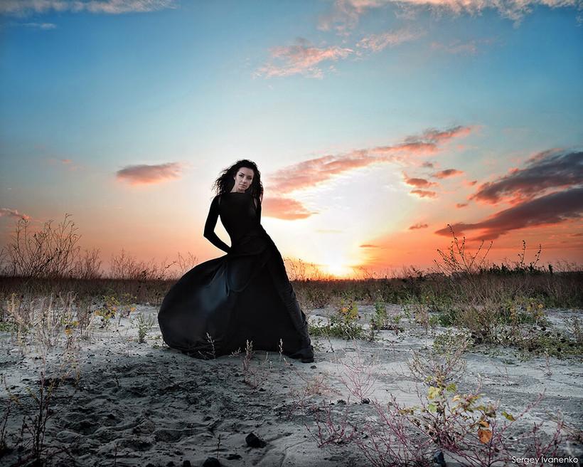 Фотосессия в красивом платье