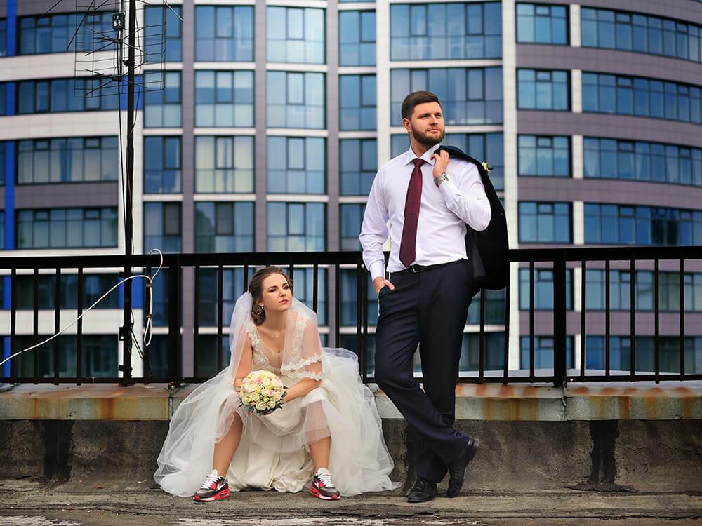 Свадебная фотография на крыше