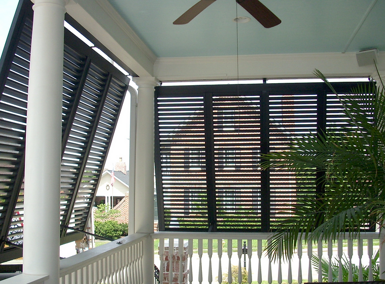 black-aluminum-bahama-hurricane-shutters-for-cozy-porch-decor-bahama-shutters-for-cozy-exterior-desi