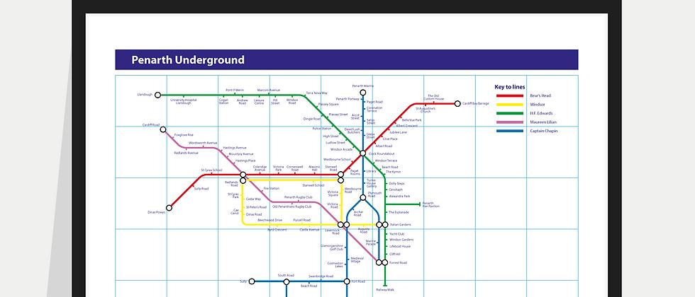 The Penarth Underground Map - Poster