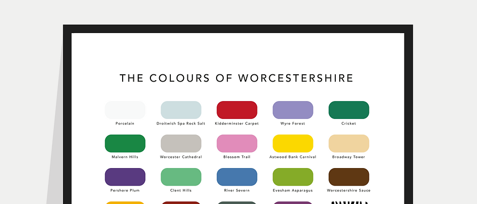 The Colours of Worcestershire Paint Chart Poster / Print