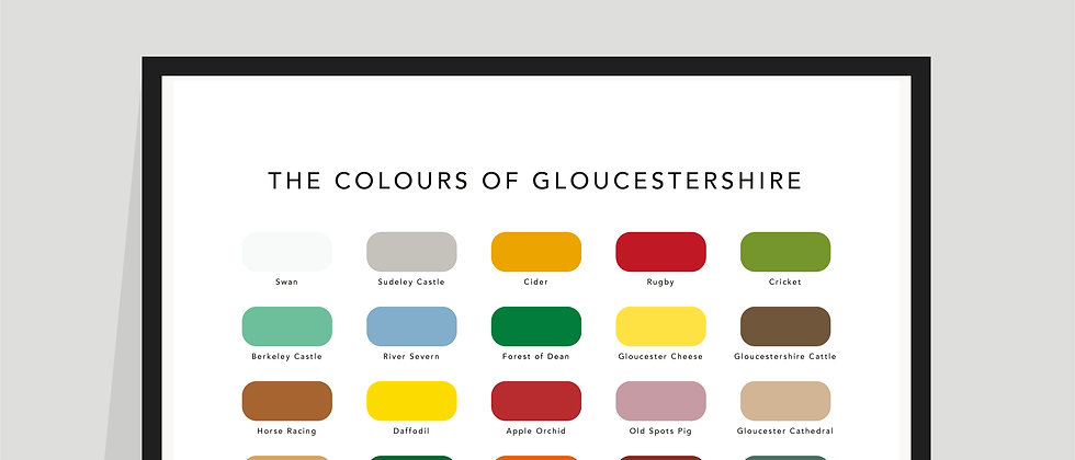 The Colours of Gloucestershire Paint Chart Poster / Print