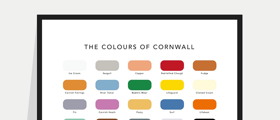 The Colours of Cornwall Paint Chart Poster / Print