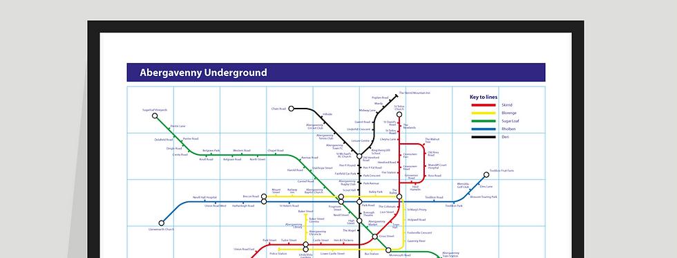 The Abergavenny Underground Map - Poster