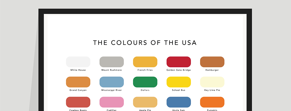 The Colours of the USA Paint Chart Poster / Print