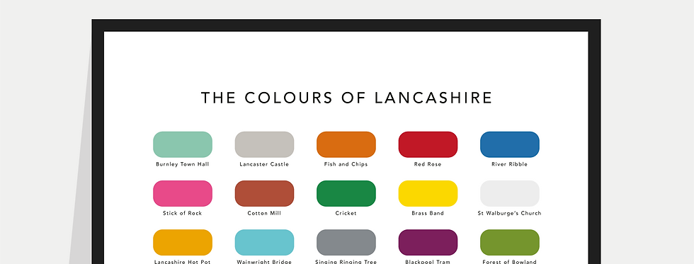 The Colours of Lancashire Paint Chart Poster / Print