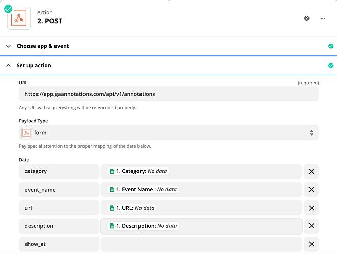 Google Sheet data for annotations