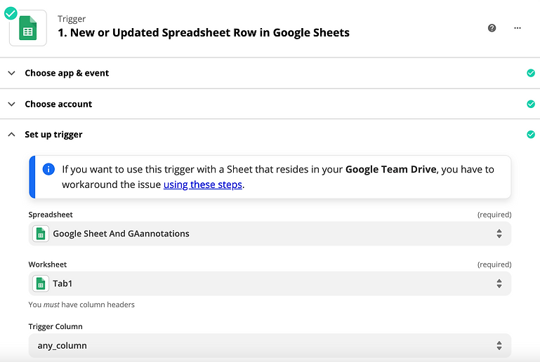 select Spreadsheet for annotations