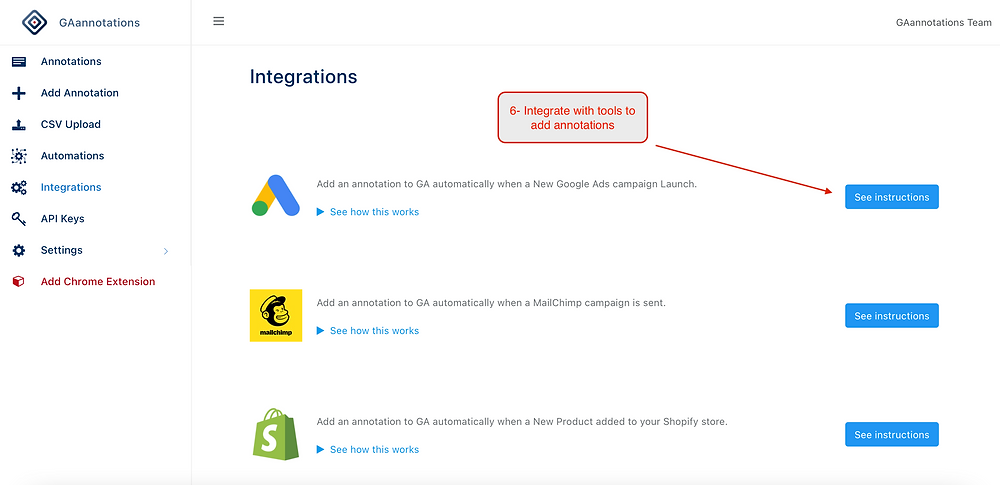 Integrate Google Analytics annotations with tools