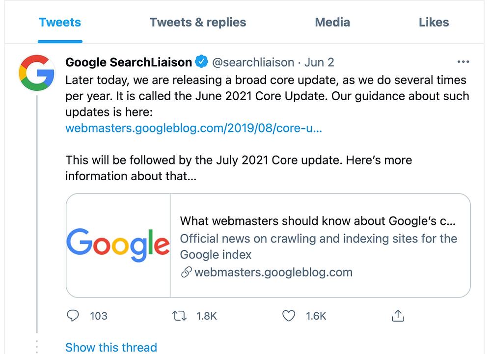 June 2021 Google Core Update