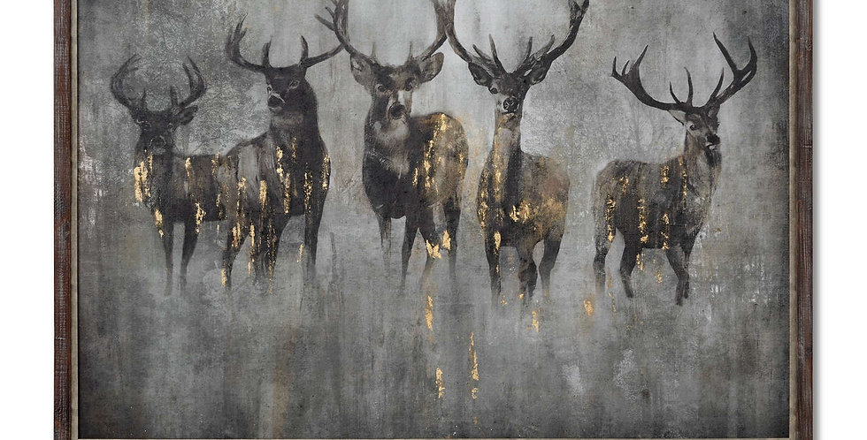 Large Curios Stag Painting on Cement Board