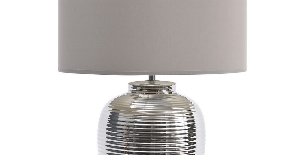 Neera Ribbed Silver Table Lamp (Base Only)