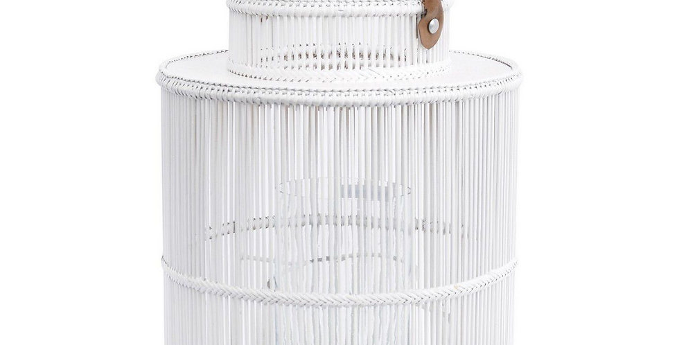 Seminyak White Round Rattan & Bamboo Lantern With Leather Handle