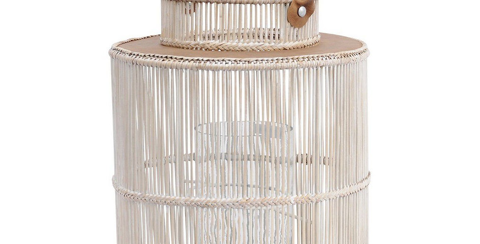 Seminyak Whitewash Round Rattan & Bamboo Lantern With Leather Handle