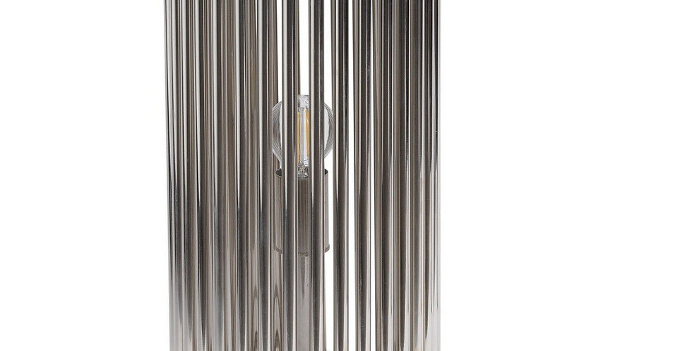 Fluted Nickel Cylinder Table Lamp