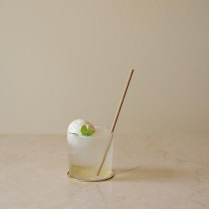 自家製シロップソーダ+ミルクアイス(オプション) 期間限定 -2020/08   自家製の梅シロップにイタリア モデナ産guerzoni社のホワイトバルサミコ酢を用いたシロップ  GLASS Brand:ALESSI Water Glass Designer:Jasper Morrison