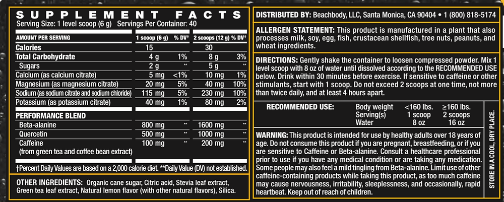 Energize nutrition facts
