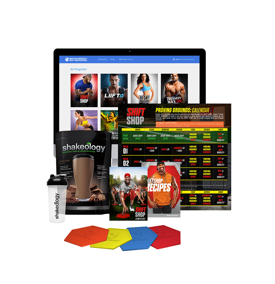 shift shop challenge pack with shakeology and meal plan