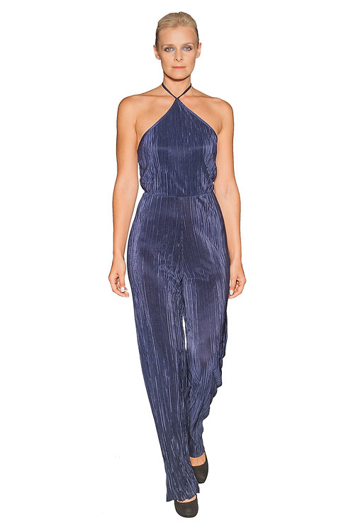Blue Halter Neck Jumpsuit