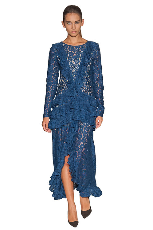 Frilled Front Open Lace Gown