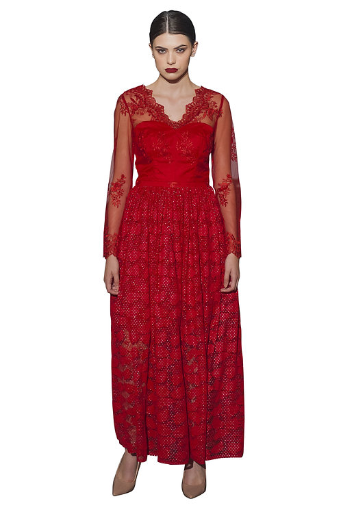 Floral Lace-Paneled Gown