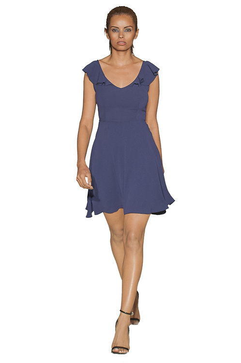 Frilled Cup Sleeves Short Dress