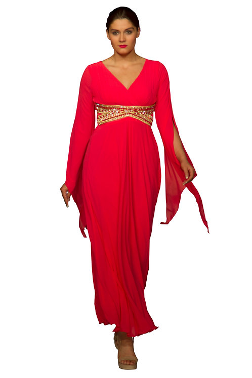 Bell Sleeved Maxi with Swarovski Empire Line