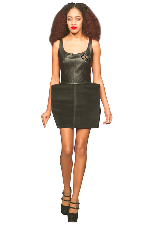 Little Black Dress with Leather Bodice
