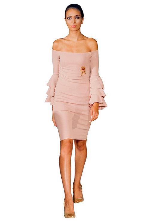 Frilled Sleeves Off Shoulder Dress