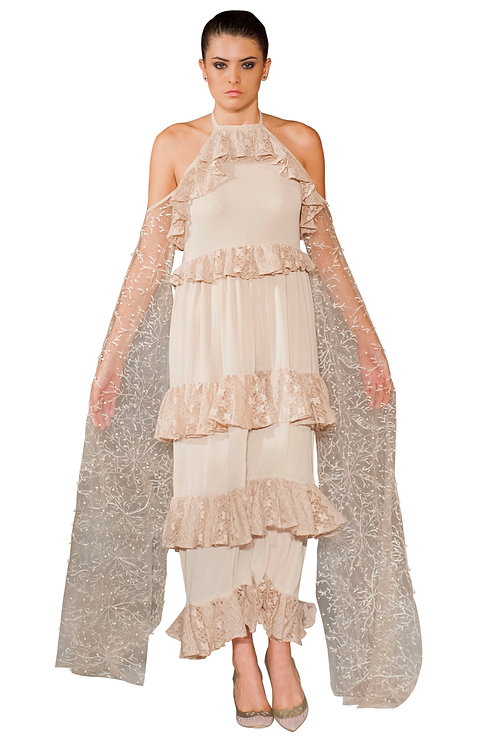 Frilled Gown with Winged Sleeves