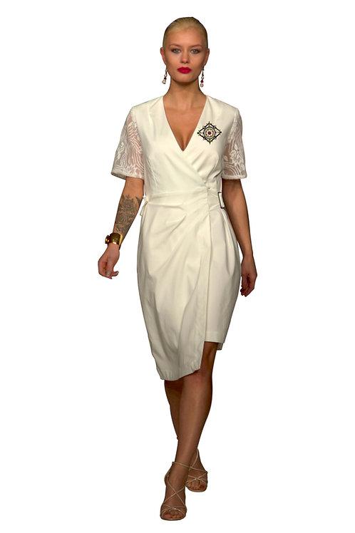 Lace Sleeves Asymmetric-Wrap Dress