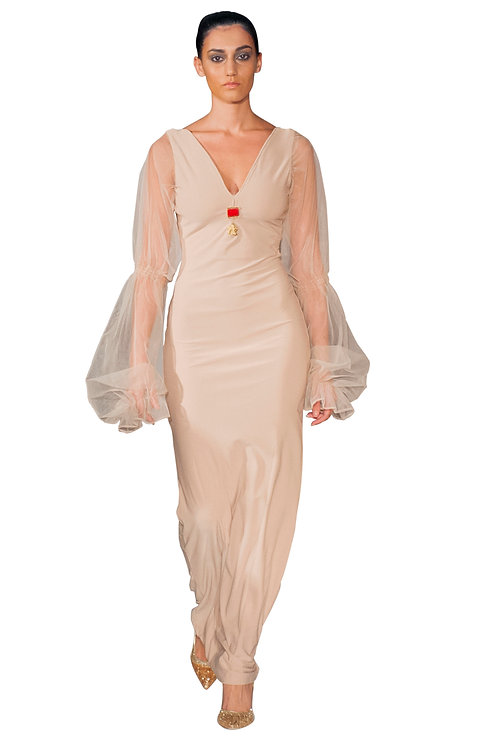 Sheer Bubble Sleeved Body Con Dress