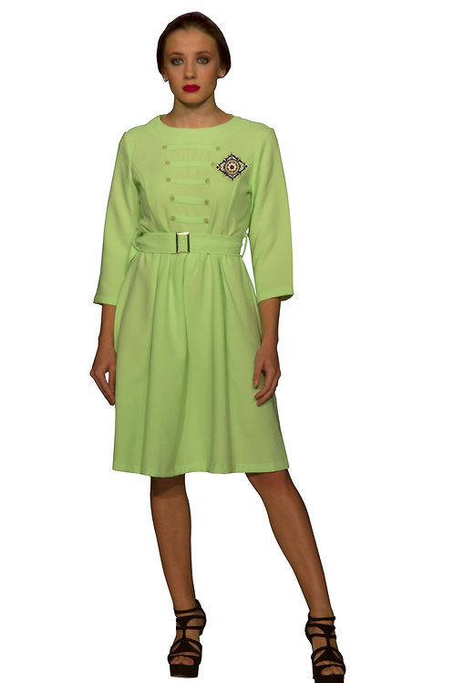 Lime Green Belted Hussar Dress