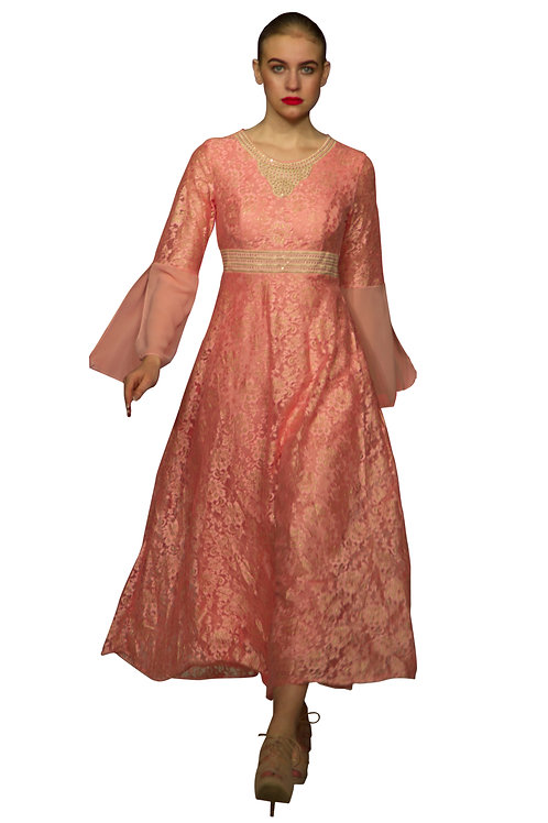 Peach Kelly Lace Dress