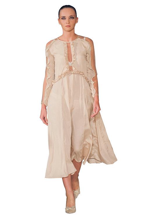 Frilled and Ruffled Midi Dress