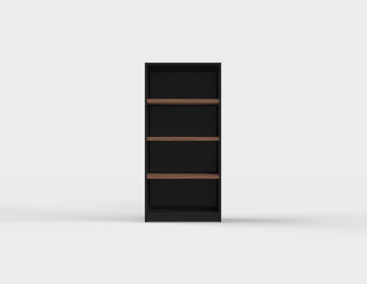 Cabinet_W800D400H1600_4段オープン_巾木仕様_BK_TJ1