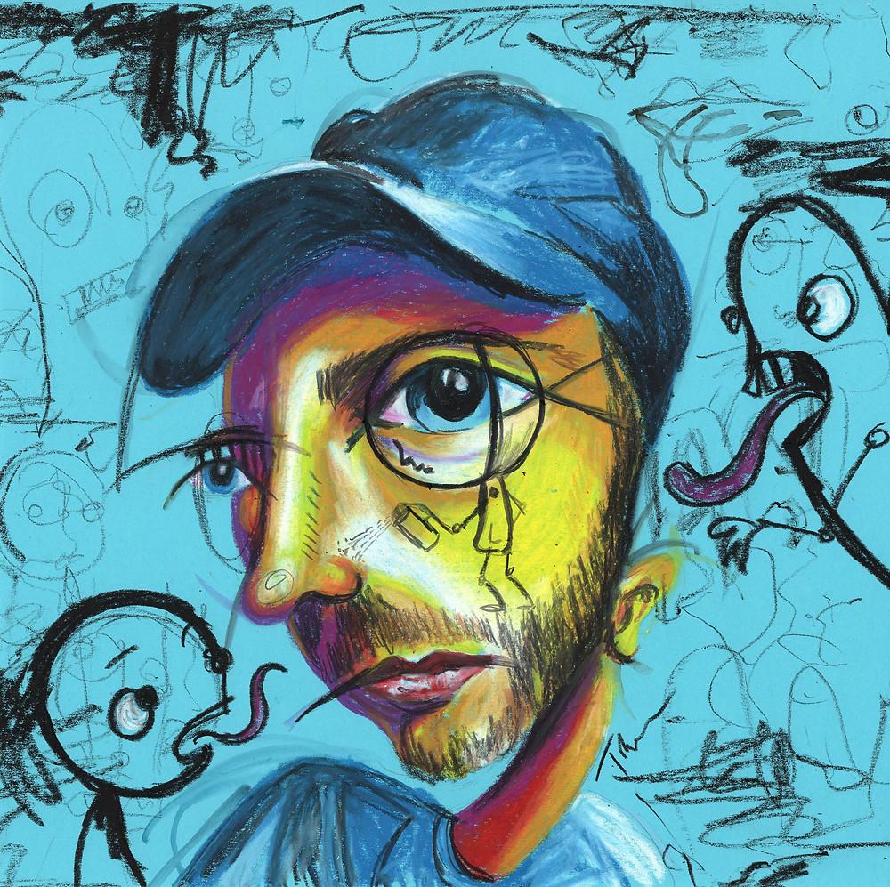 Graffiti Man semi abstract face art in mixed media