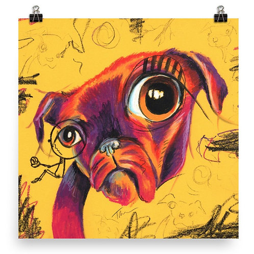 Pugtastic Abstract Pug Dog  - Art Print