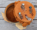 Handcrafted Leather & Suede Hatbox with Gemstones