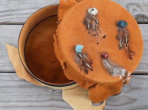 SOLD!! - Buckskin Leather & Suede Hatbox