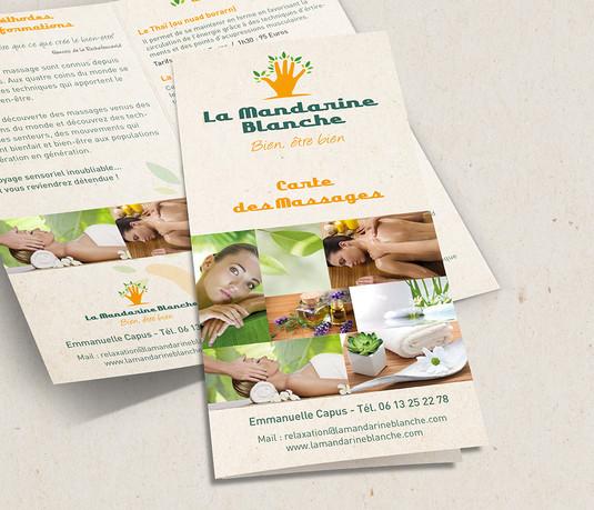 Dépliant prestations et tarifs Cartes de visites La Mandarine Blanche